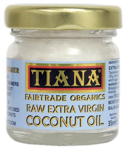 TIANA® Fairtrade Organics Raw Extra Virgin Coconut Oil 35ml Travel size
