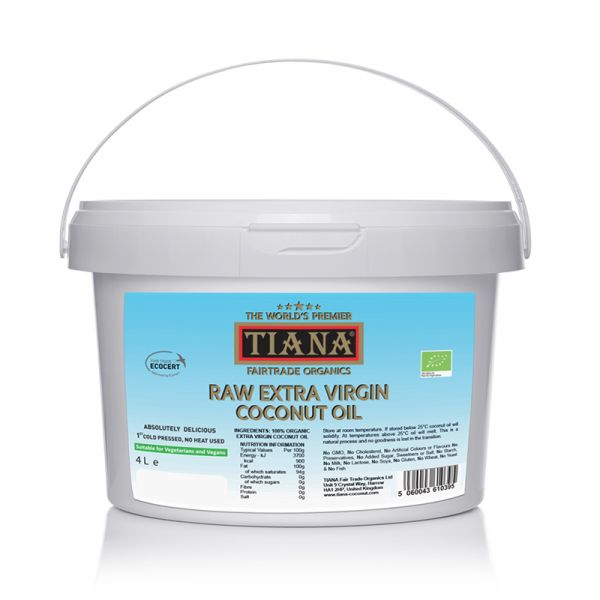 TIANA Fairtrade Organics Raw Extra Virgin Coconut Oil 4L